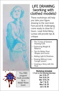 Life Drawing 2018 – Jagged Lines of Imagination Academy